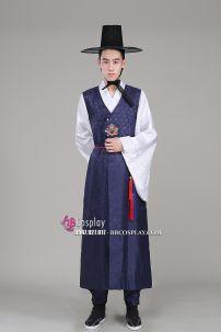 Hanbok Cổ Trang Nam Xanh Đậm