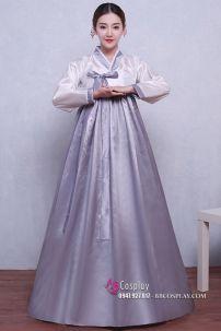 Hanbok Giá Rẻ Áo Trắng Váy Xám