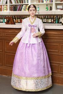 Hanbok Áo Gấm Trắng Váy Gấm Tím 45