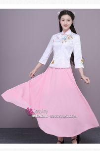 Sườn Xám Cách Tân Áo Gấm Thêu Váy Hồng