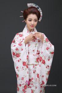 Yukata YEN Trắng Hoa Đỏ