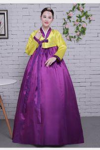 Hanbok Giá Rẻ Áo Vàng Váy Tím