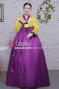 Hanbok Hàn Quốc Giá Rẻ Áo Vàng Váy Tím