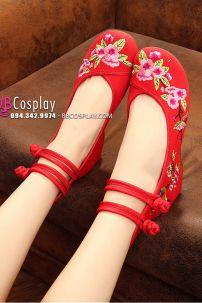 Giày Đỏ Thêu Hoa Hồng - Hài Hán Phục Thêu