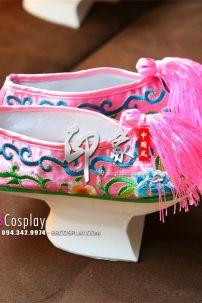 Giày Thêu Màu Hồng
