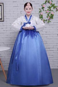 Hanbok Áo Trắng Váy Xanh Nơ Xanh Giá Yêu Thương