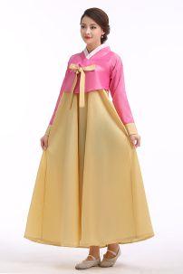 Hanbok Giá Rẻ Áo Hồng Váy Vàng Nơ Vàng
