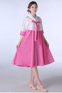 Hanbok Váy Ngắn Áo Trắng Váy Hồng 9757