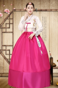 Hanbok Hồng Váy 2 Lớp Tay Gấm 24b