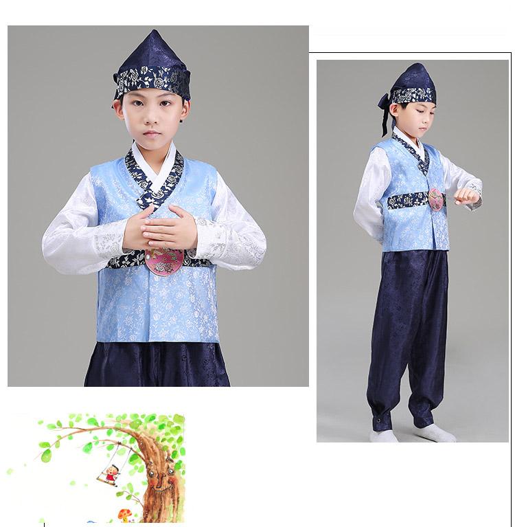 Hanbok Bé Trai Áo Xanh Quần Xanh - Tặng Nón
