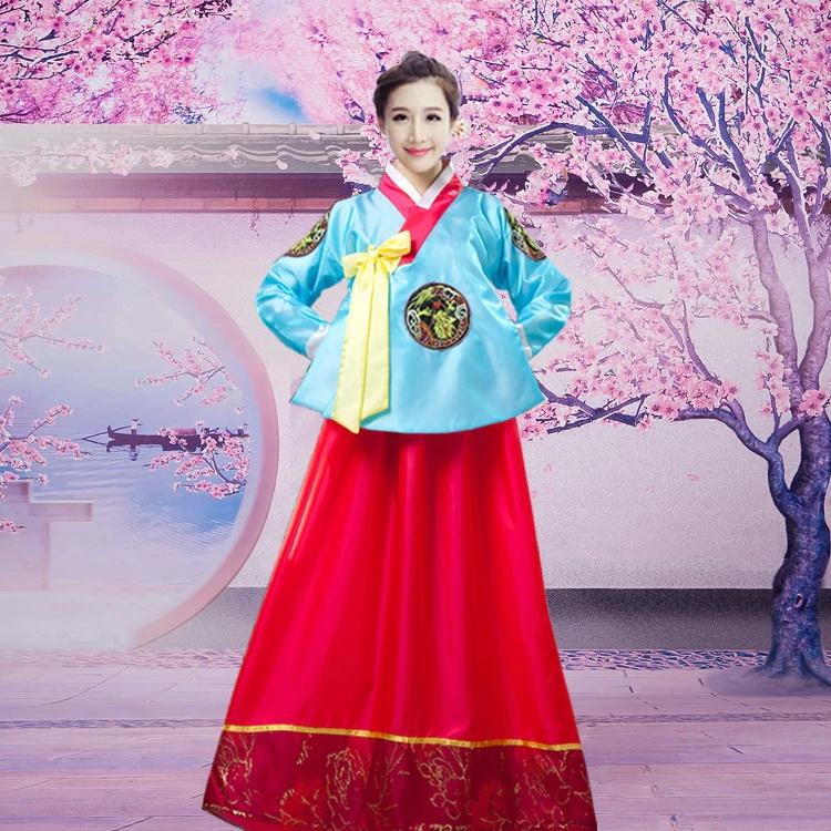 Hanbok Ao Xanh Dài Váy Đỏ