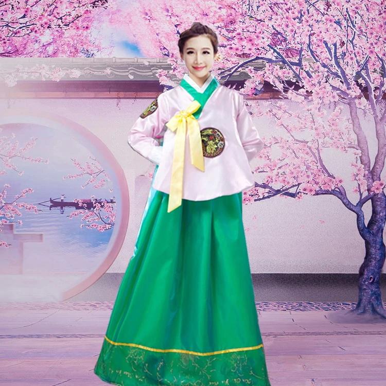Hanbok Áo Hồng Váy Xanh Lá