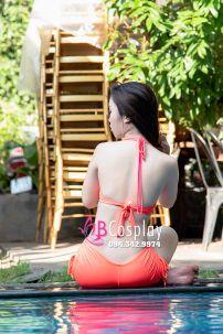 Đồ Bơi Bikini Cam Cà Rốt Áo Ngực Độ Vải Cá