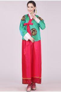 Hanbok Áo Xanh Dài Váy Hồng