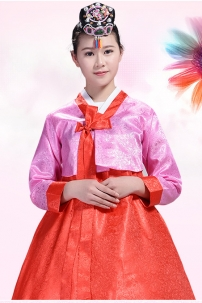 Hanbok Gấm Áo Hồng Váy Đỏ
