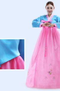 Hanbok Voan Thêu Áo Xanh Váy Hồng