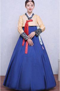 Hanbok Áo Vàng Váy Xanh Có Tuarua