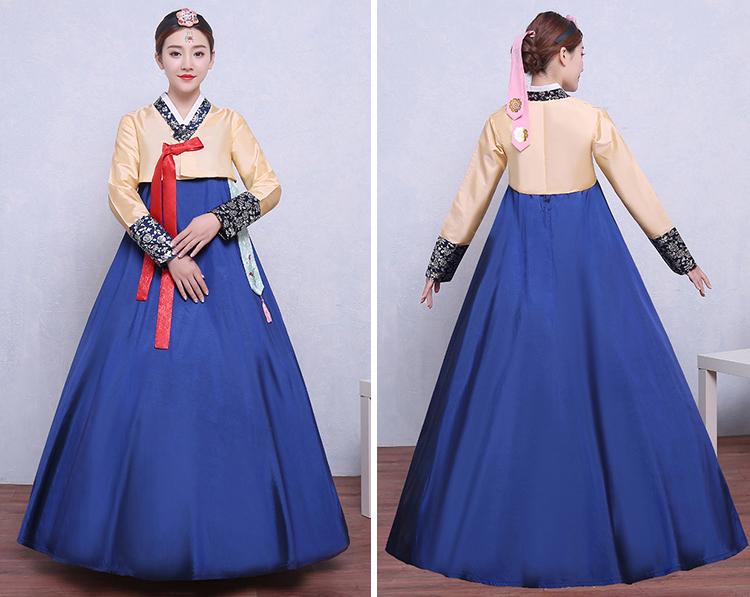 Hanbok Áo Vàng Váy Xanh Có Tuarua49