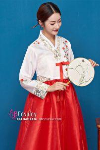 Hanbok 2 Lớp Áo Trắng Váy Đỏ Thêu Hoa Có In Nhủ
