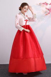 Hanbok 2 Lớp Voan Thêu Ao Hồng Váy Đỏ