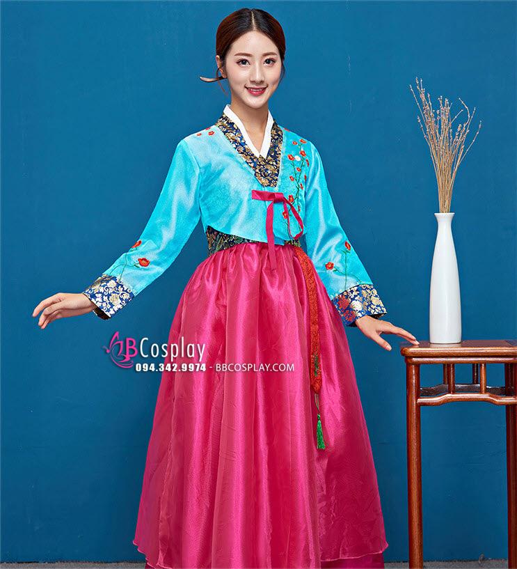 Hanbok 2 Lớp Voan Thêu Áo Xanh Váy Hồng